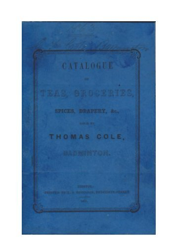 Badminton Catalogue 1850