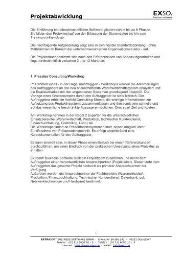 Projektabwicklung - EXSO. business solutions Gmbh