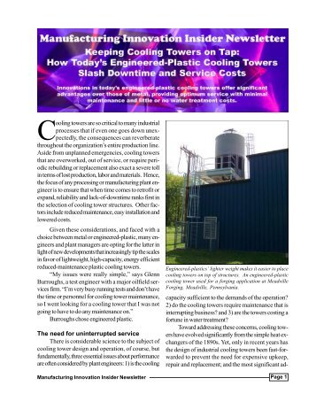 Manufacturing Innovation Insider Newsletter - Delta Cooling Towers