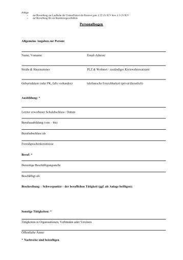 Personalbogen Schulbildung