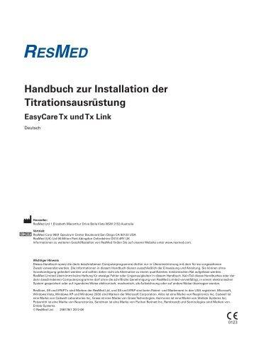 Handbuch zur Installation der Titrationsausrüstung - ResMed