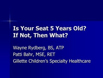 Is Your Seat 5 Years Old? If Not, Then What? - Resna
