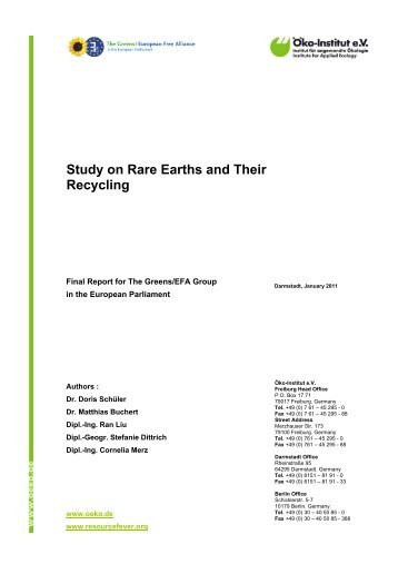Study on Rare Earths and Their Recycling - Öko-Institut eV