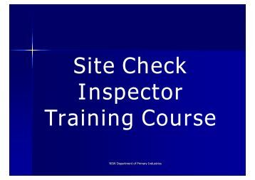 Site check inspectors training program - NSW Department of Primary ...
