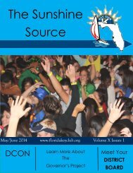 Florida Key Club's Sunshine Source Vol X No 1 May-Jun 2014