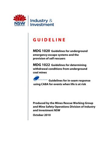 MDG 1020 Guideline for underground emergency escape systems ...