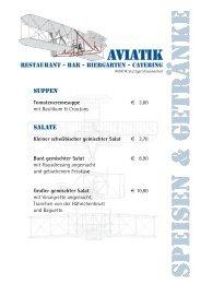 Die komplette Speisekarte - AVIATIK Restaurant