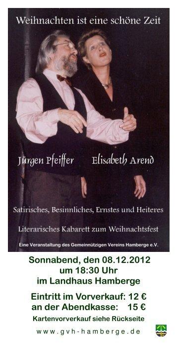 Sonnabend, den 08.12.2012 um 18:30 Uhr im Landhaus Hamberge ...