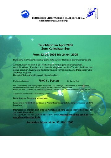 Tauchfahrt im April 2005 Zum Kulkwitzer See Vom 22.04. 2005 bis ...