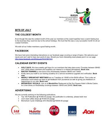 RASA Newsletter July 2012 - Restaurant Association of South Africa