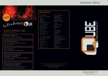 evening menu - UK Restaurant Menus