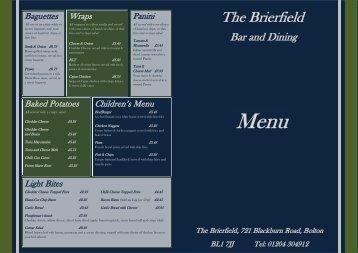 Download the Brierfield Menu - UK Restaurant Menus