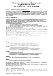 Concours Eurolam-restocours.net Règlement concours du 16 mai ...