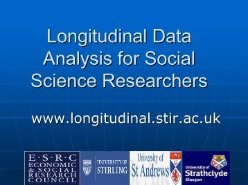 Longitudinal Data Analysis for Social Science Researchers - ReStore
