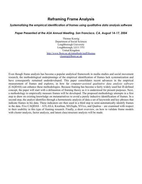 Reframing Frame Analysis