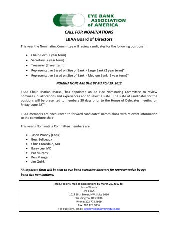 2012 Call for Nominations Form