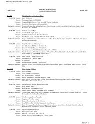 Ministry Schedule for March 2011 2/17/2011 - Church of the ...