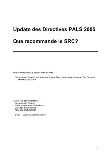 Update ACLS-Richtlinien 2005 - Swiss Resuscitation Council