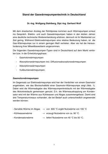 Stand der Gaswärmepumpentechnik in Deutschland - ReSys AG