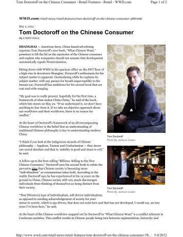 Tom Doctoroff on the Chinese Consumer - Retail Geeks