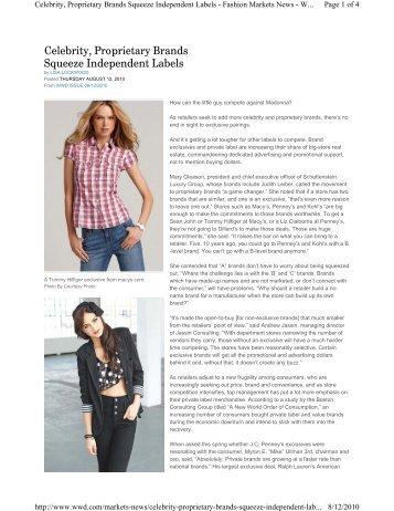 Celebrity, Proprietary Brands Squeeze Independent ... - Retail Geeks