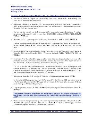 Tiburon Research Group - Retail Geeks