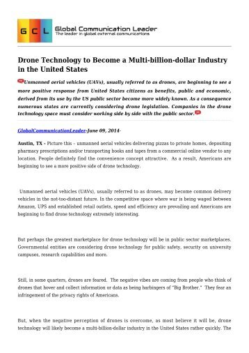 Drone Technology to Become a Multi billion dollar Industry in the United States