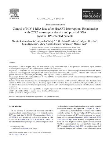 Relationship with CCR5 co-receptor density and proviral ... - retic-ris