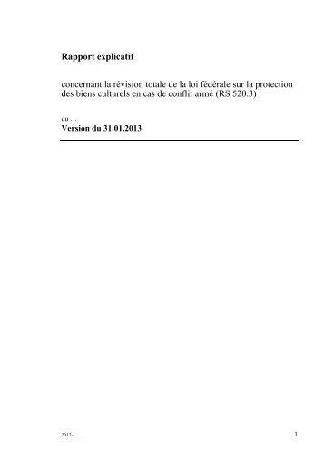 Rapport explicatif concernant la révision totale de la loi ... - admin.ch