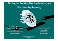 Biologische Großschadenslagen Pandemieplanung