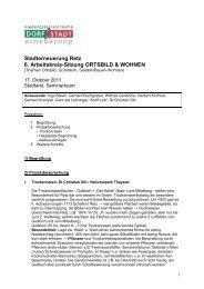 Stadterneuerung Retz 6. Arbeitskreis-Sitzung ORTSBILD & WOHNEN