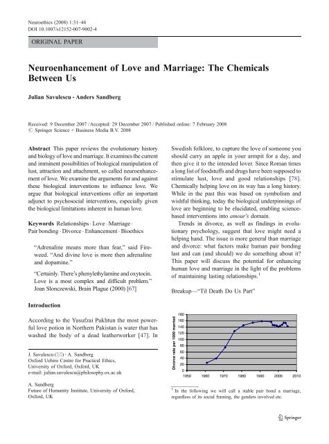 Neuroenhancement of Love and Marriage: The Chemicals Between