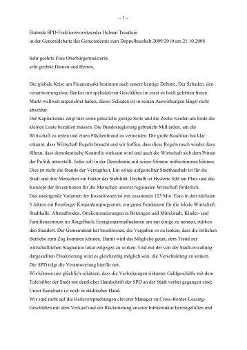 - 1 - Etatrede SPD-Fraktionsvorsitzender Helmut ... - Stadt Reutlingen