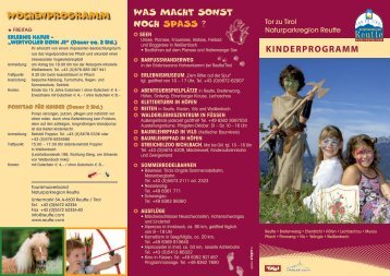 KINDERPROGRAMM - Reutte