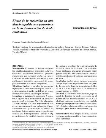 Efecto de la metionina en una dieta integral de ... - edigraphic.com