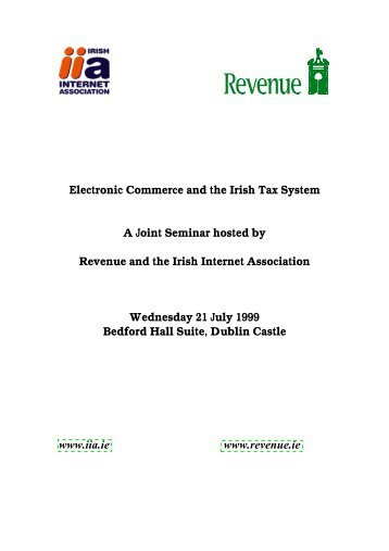 Electronic Commerce and the Irish Tax System - Revenue ...