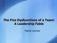 The Five Dysfunctions of a Team - Revere Local Schools