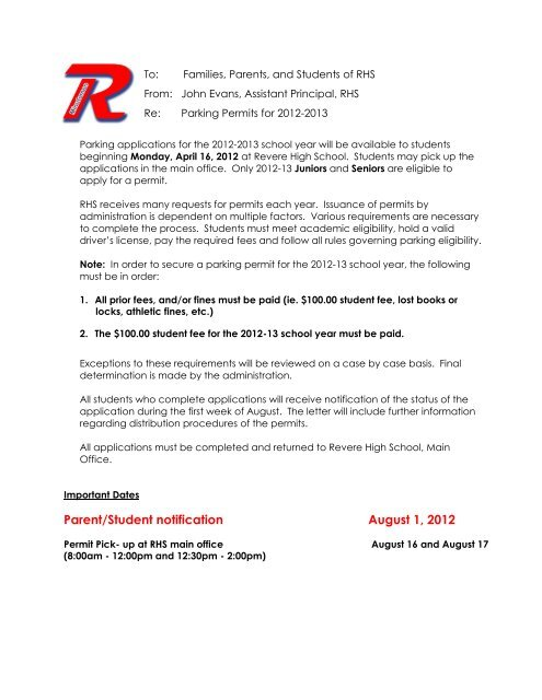Families, Parents, and Students of RHS - Revere Local Schools