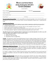 Tuition Agreement - Revere Local Schools