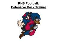 RHS Football: Defensive Back Trainer - Revere Local Schools