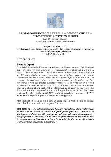 LE DIALOGUE INTERCULTUREL, LA DEMOCRATIE & LA ...
