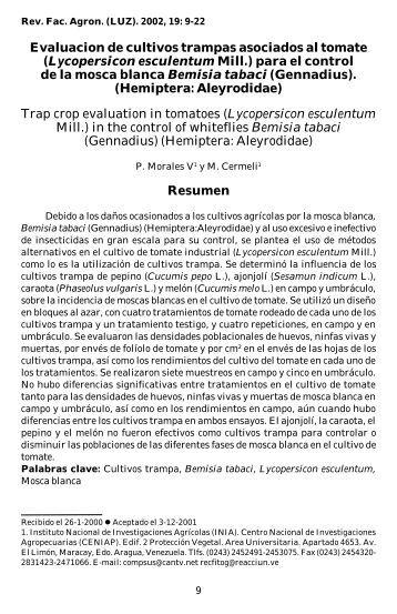 Evaluacion de cultivos trampas asociados al tomate - Revista de la ...