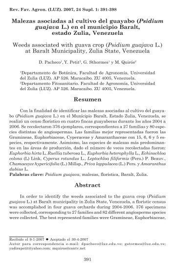 Malezas asociadas al cultivo del guayabo (Psidium guajava L.)