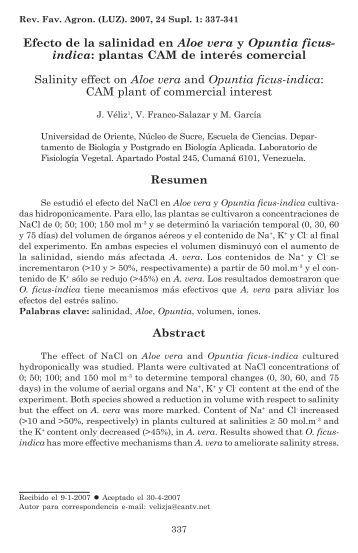 Efecto de la salinidad en Aloe vera y Opuntia ficus-indica