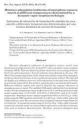 Isotermas de adsorción de humedad de almidón de yuca amorfo a ...