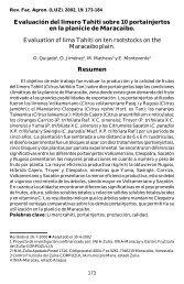 Evaluación del limero Tahiti sobre 10 portainjertos en la planicie de ...