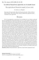 La oferta financiera agrícola en el estado Lara - Revista de la ...