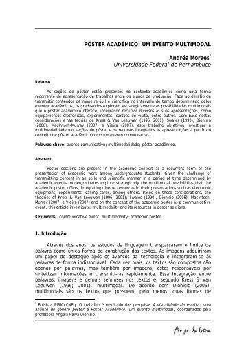 Pôster acadêmico: um evento multimodal - Revista Ao Pé da Letra