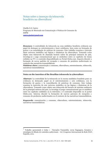 Notas sobre a inserçao da telenovela brasileira na cibercultura