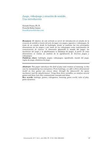 Artículo 3. Juego, videojuego y creación de sentido. Una introducción